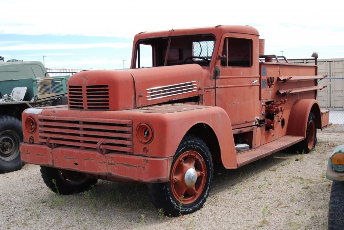Among vehicles waiting restoration is this 1952 Class 750 Howe pumper. The unrestored vehicles will be shipped to the storage depot at Anniston Depot in Alabama where their fates will be determined.