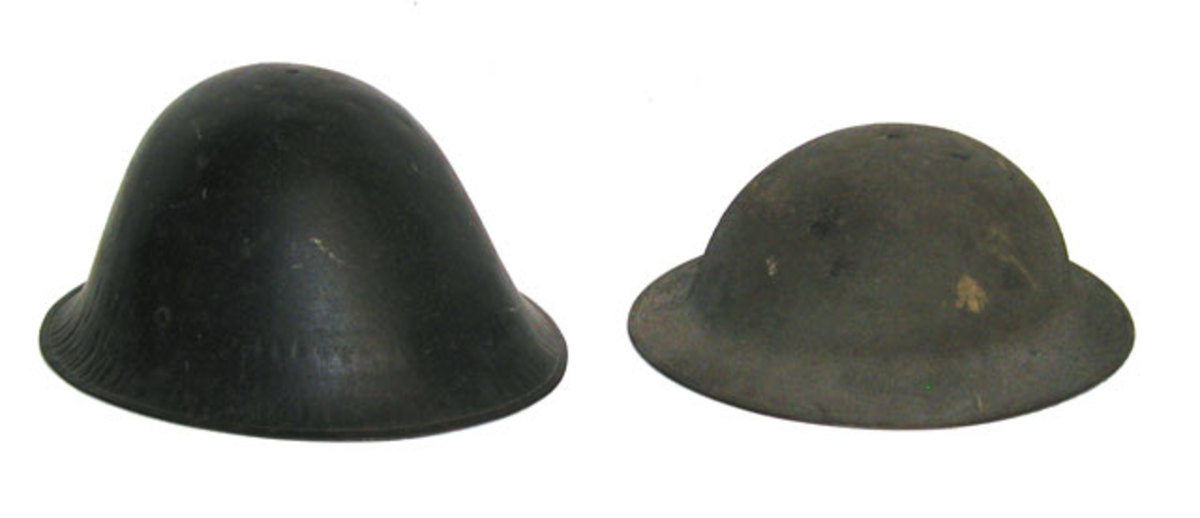 "The only experimental helmet to actually be accepted by the U.S. military was the so-called ""Liberty Bell,"" the helmet was so despised by the troops that it was withdrawn from service. At least three different liner types were utilized with the Liberty Bell. (Author's collection)"