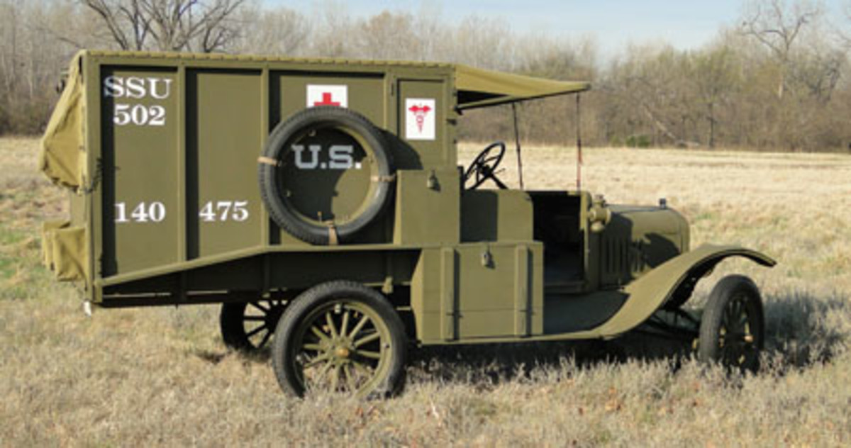 The completed U.S. Army M1917 ambulance showing the RH Side. The upper storage box was used to hold ambulance records and the driver's personal items.
