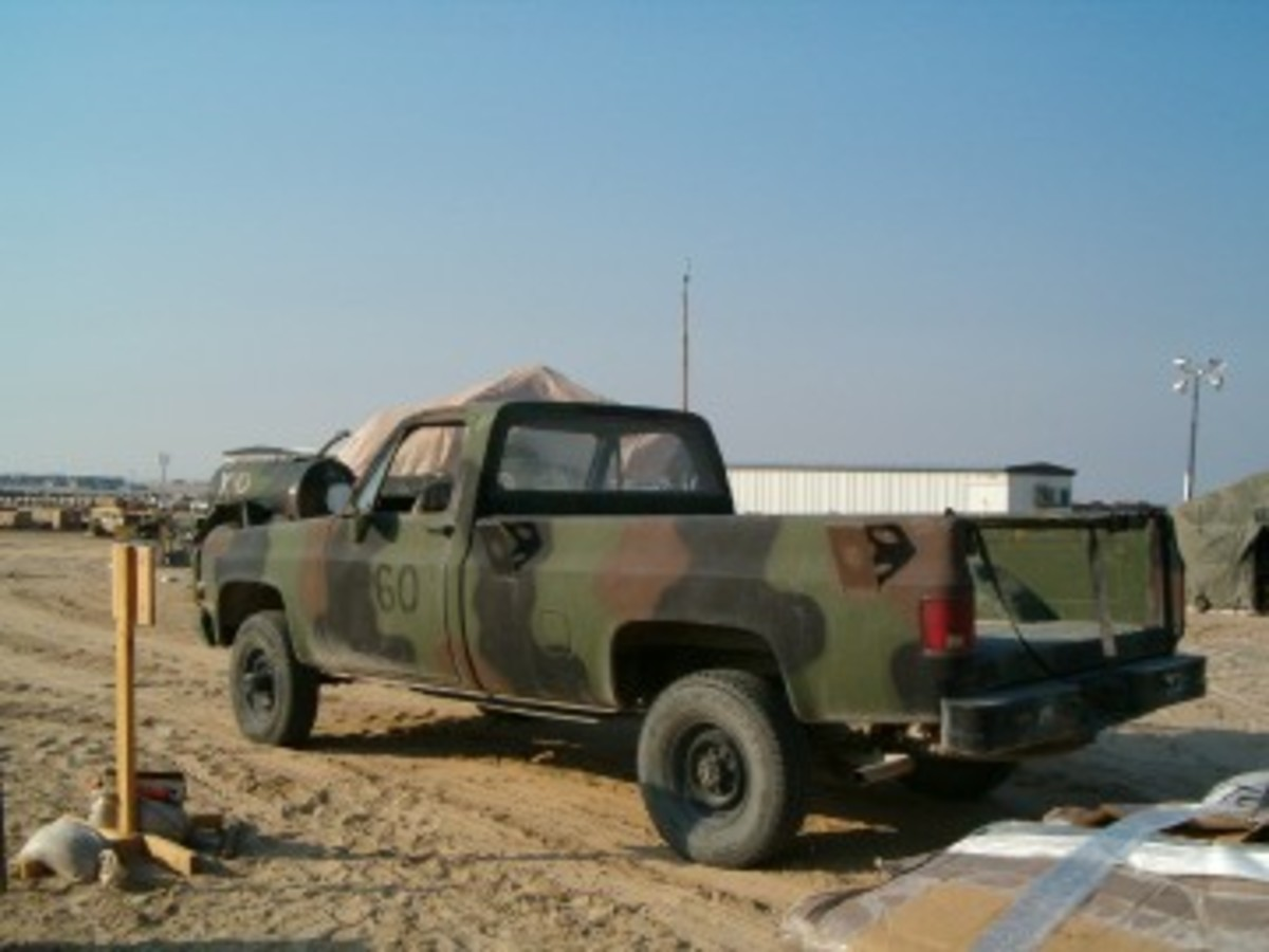 "This CARC-painted CUCV was the author's personal ride while stationed in Kuwait in 2004. His unit christened it the ""Chick Magnet."""