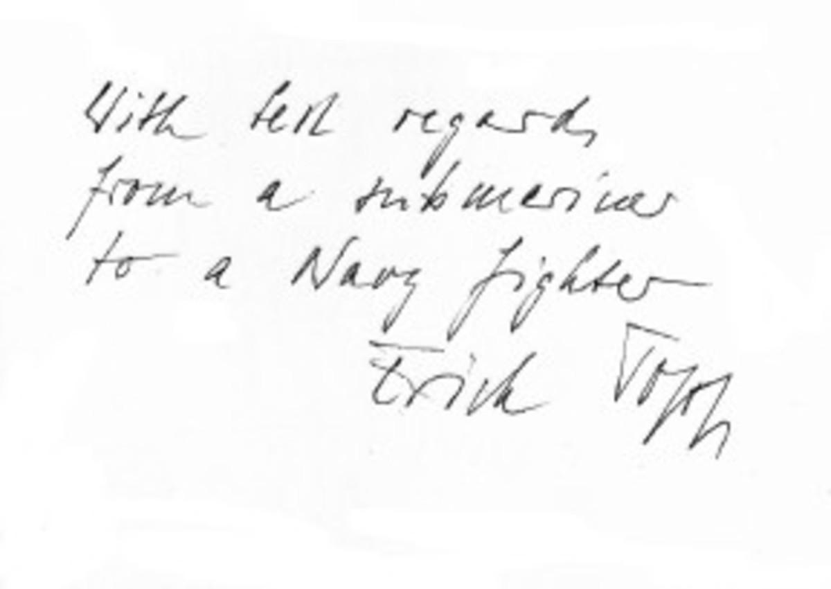Erich Topp signature, 1983.