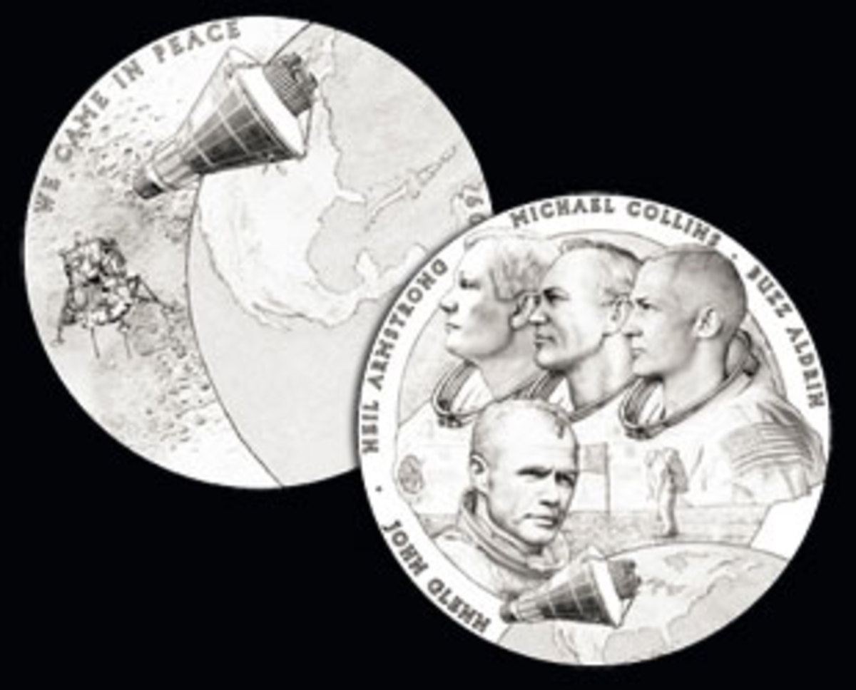 Artwork for the New Frontier Congressional Gold Medal awarded Nov. 16, 2011, to John Glenn and the crew of Apollo 11. (CCAC)