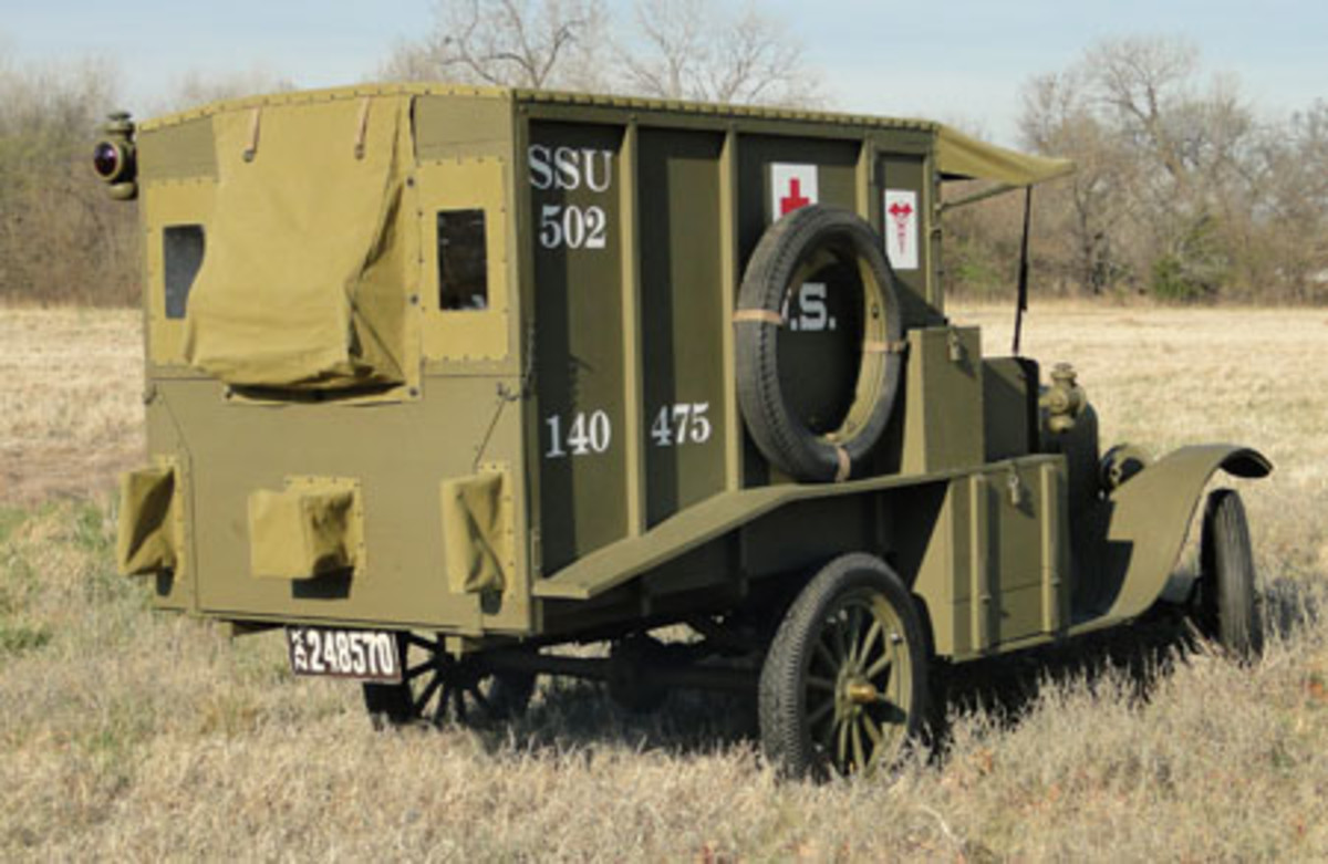 The completed U.S. Army M1917 ambulance showing the Tail Gate. The square canvas pouches allowed the stretcher handles to pass through the tail gate.