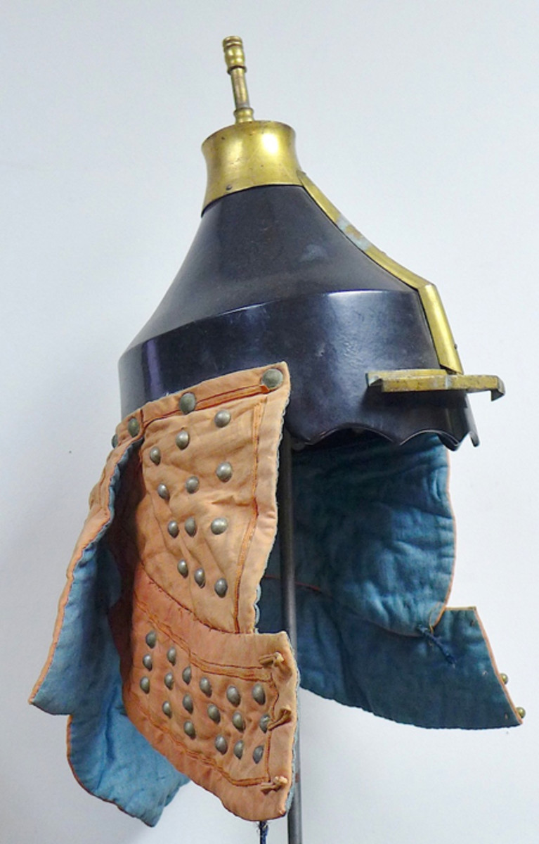 Antique Chinese military officer's helmet with studded side and back neck guards, ex Gene Christian collection.