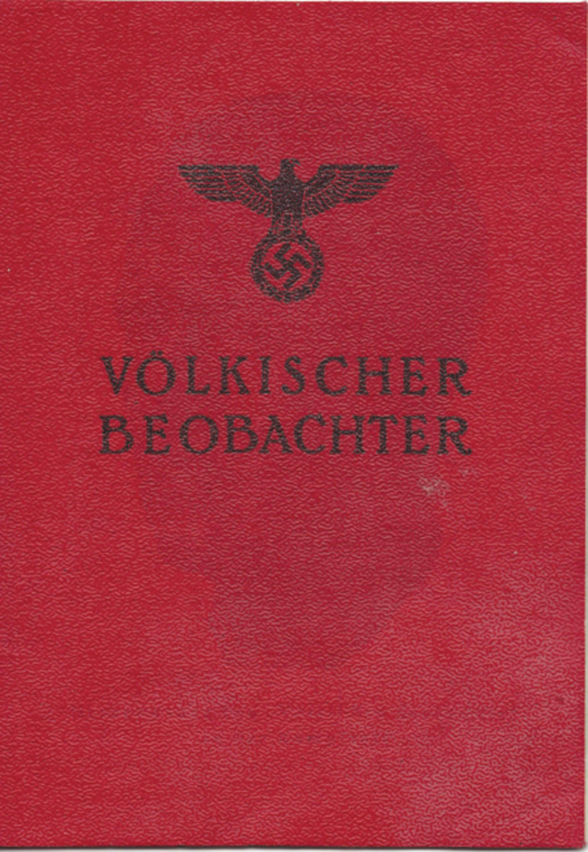 This subscriber booklet for the Völkischer Beobachter newspaper consisted of an outer cover of thin, bright red plastic with a textured finish. it contains sixteen white paper pages. The booklet measures about 15cm x 10.5cm. This particular subscriber's booklet was issued on 2 February 1938 by the Völkischer Beobachter office (VB-Filiale) in the Halensee suburb of Berlin.