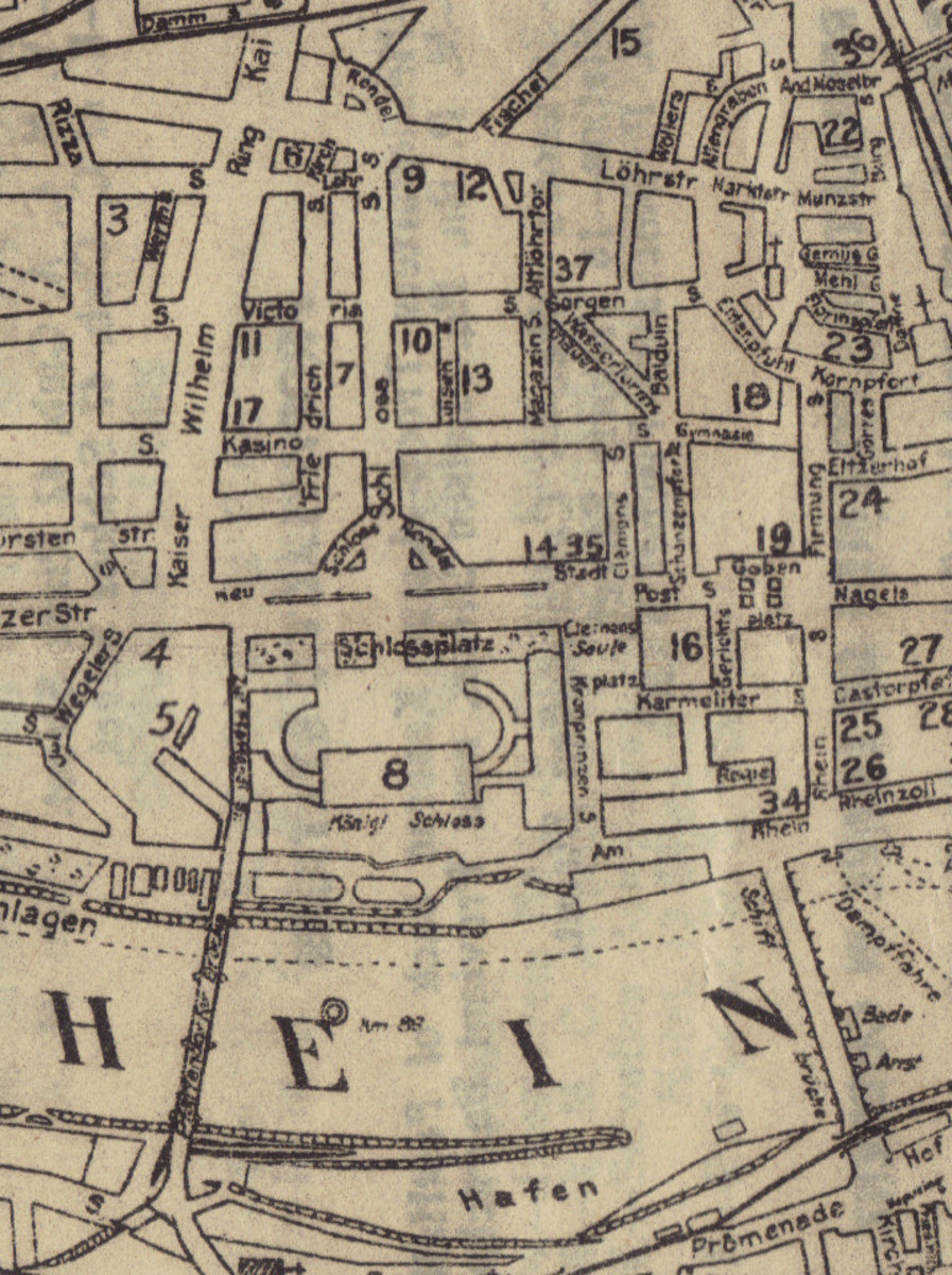A section of a street map of Coblenz in 1919 showing clearly the location of Schloss Strasse starting at the Schloss (number 8) and heading straight up until it runs into Löhrstrasse. The headquarters building for the Third Army, and later, the American Forces in Germany (AFG), is marked by the number 34.