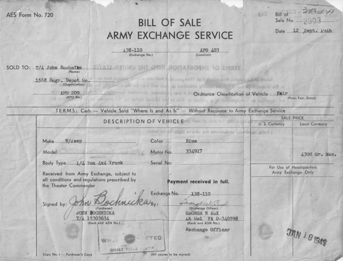 """The original bill of sale shows that the elder John purchased a blue """"W/Jeep"""" with motor number 334917 for 4,300 German Marks."""