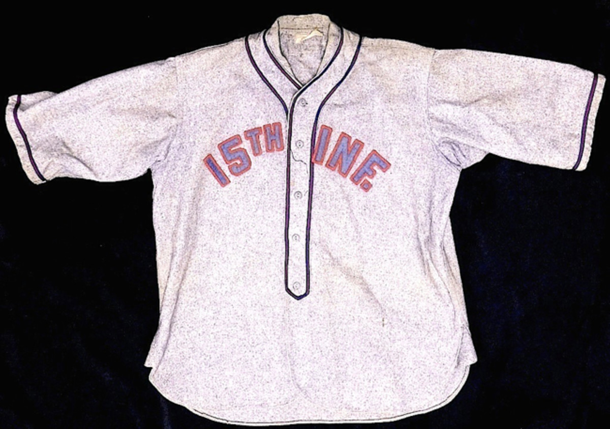 Baseball jersey used by US military officer who served in 15th Infantry Regiment, Tientsin, China, ex Gene Christian collection.