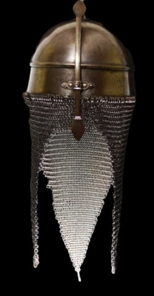 Lot# 658. Helmet, Persian Kulah Khud Combat, 18th C - moveable nose guard, chain maille neck guard. Reference: 'A Glossary of the Construction, Decoration and Use of Arms and Armor: In All Countries and in All Times' by George Cameron Stone', p. 399, fig. 498. Estimate: $750-$1,000.