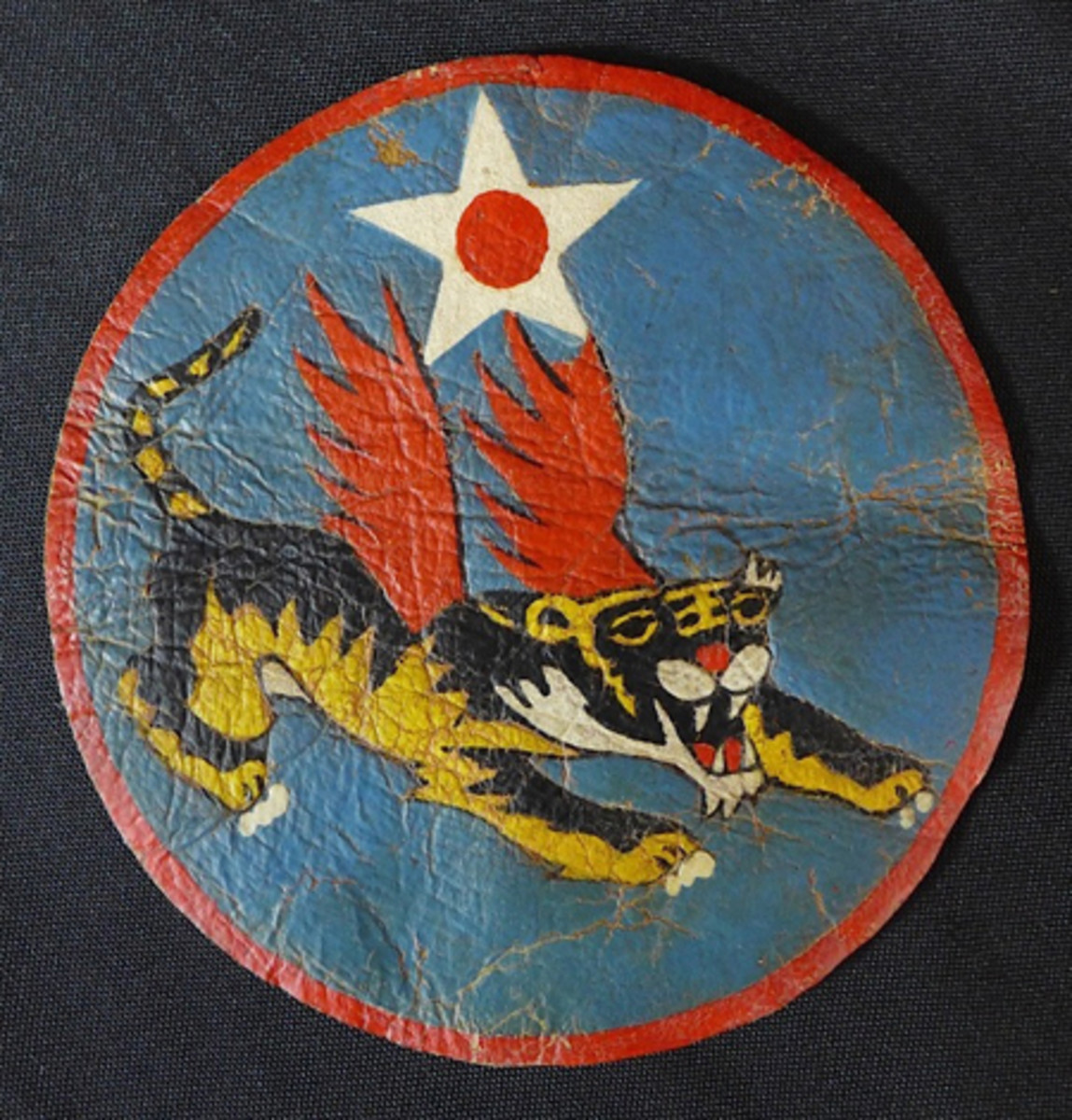 Rare USAAF 14th Flying Tigers leather patch, large 5¼-inch size, ex Gene Christian collection.