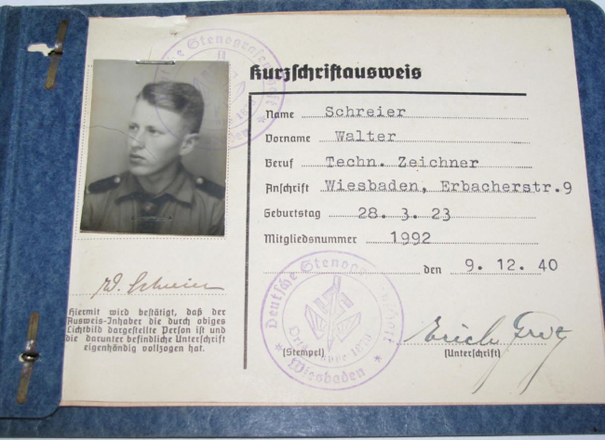 17-year-old Hitler Youth, Walter Schreier joined the Stenographers gild as a Technischer Zeichner (technical illustrator-draftsman) in 1940.