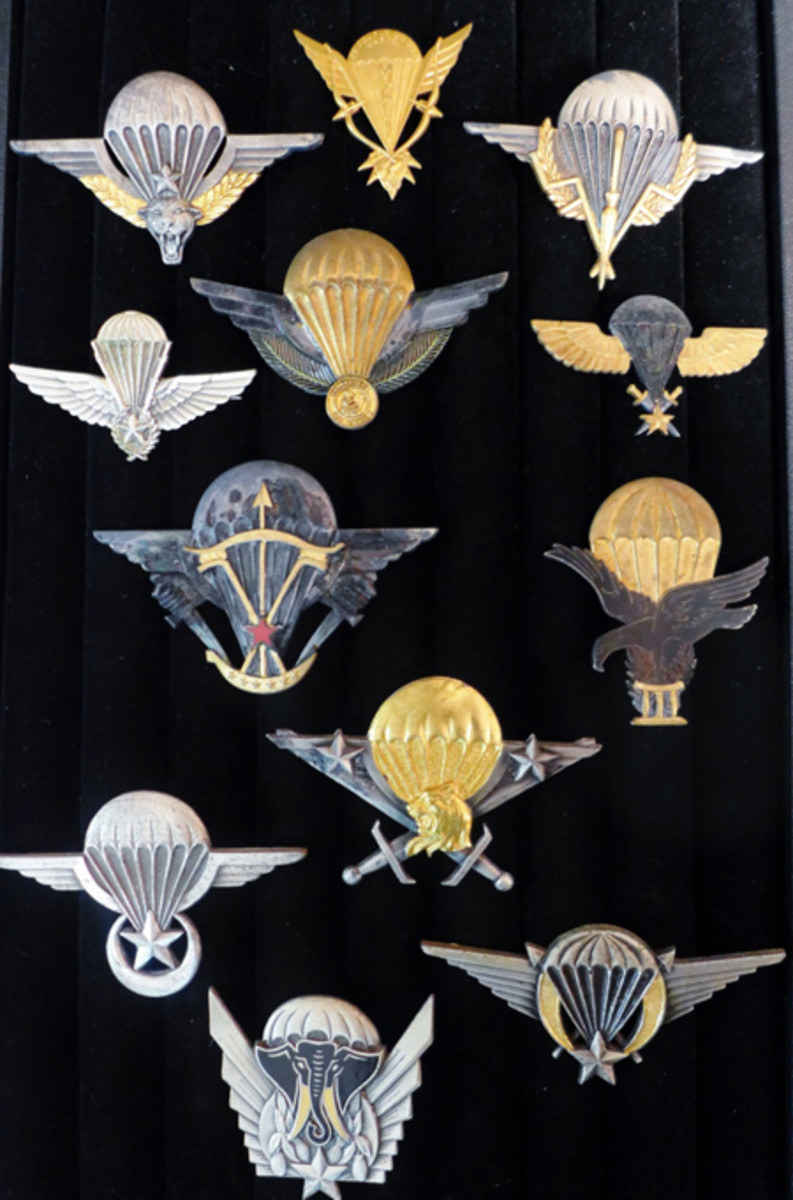 Collection of 12 French Foreign Legion African Airborne paratrooper jump wings, ex Gene Christian collection.