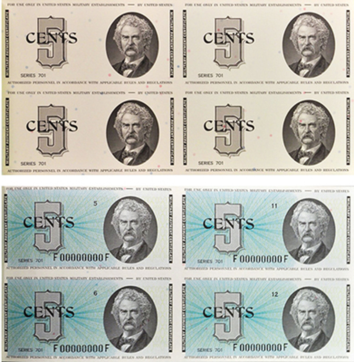 The collection includes progressive proofs from different stages of the printing process, as with these Series 701 5-cent military payment certificates depicting Mark Twain. Image courtesy of Stack's Bowers Galleries.