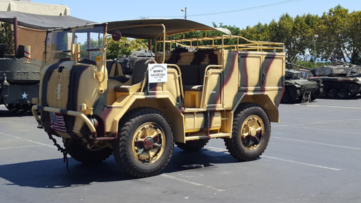Here is something rarely seen at a show in the U.S., Joe Garbarino's Fiat TM-48 artillery tractor. These diesel powered trucks carried the gun crew plus ammunition in the rear compartment. The large diameter wheels were said to be useful when in soft condition or rocks.Photo by John Neuenburg
