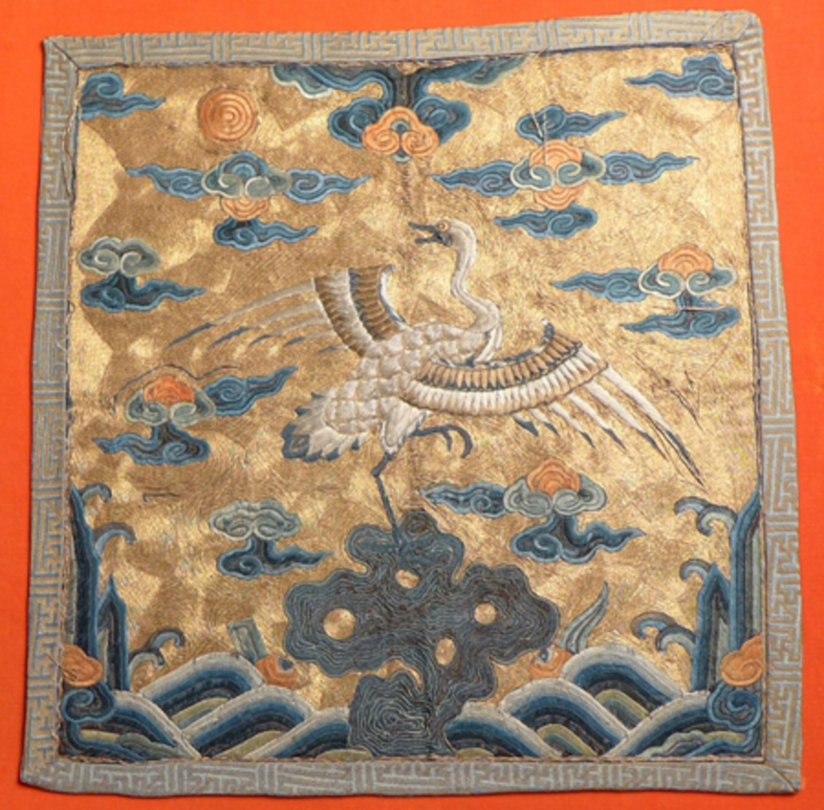 Chinese Imperial civil rank badge, embroidered with metallic silk threat, ex Gene Christian collection.