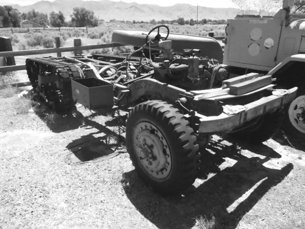 Half-track chassis and running gear in amazing, rust-free condition.