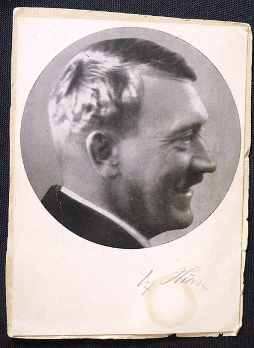 Photo of Adolf Hitler, pencil-signed, ex Gene Christian collection.