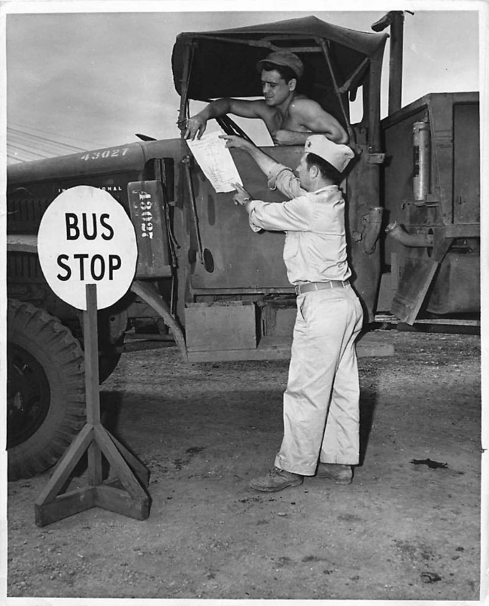 "Cam Finlay sent this photo from 1944 of an International Harvester at ""Bus Stop"" on Guadalcanal."