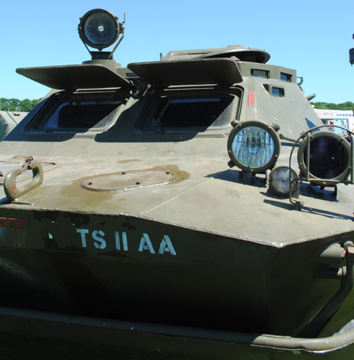 The welded hull allowed good angles to be achieved in the design to improve ballistic protection. The BRDM-2 also had a low silhouette to permit camouflage and concealment using natural cover.