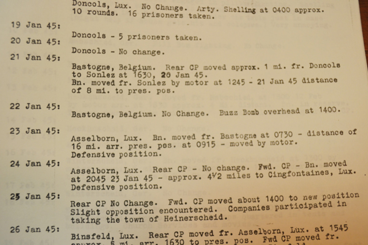 Robert kept meticulous records of his unit's location from March 22, 1944, through November 26, 1944. Later notes reflect the 90th Division's stay near Bastogne, and contain specific information regarding the race across Germany.