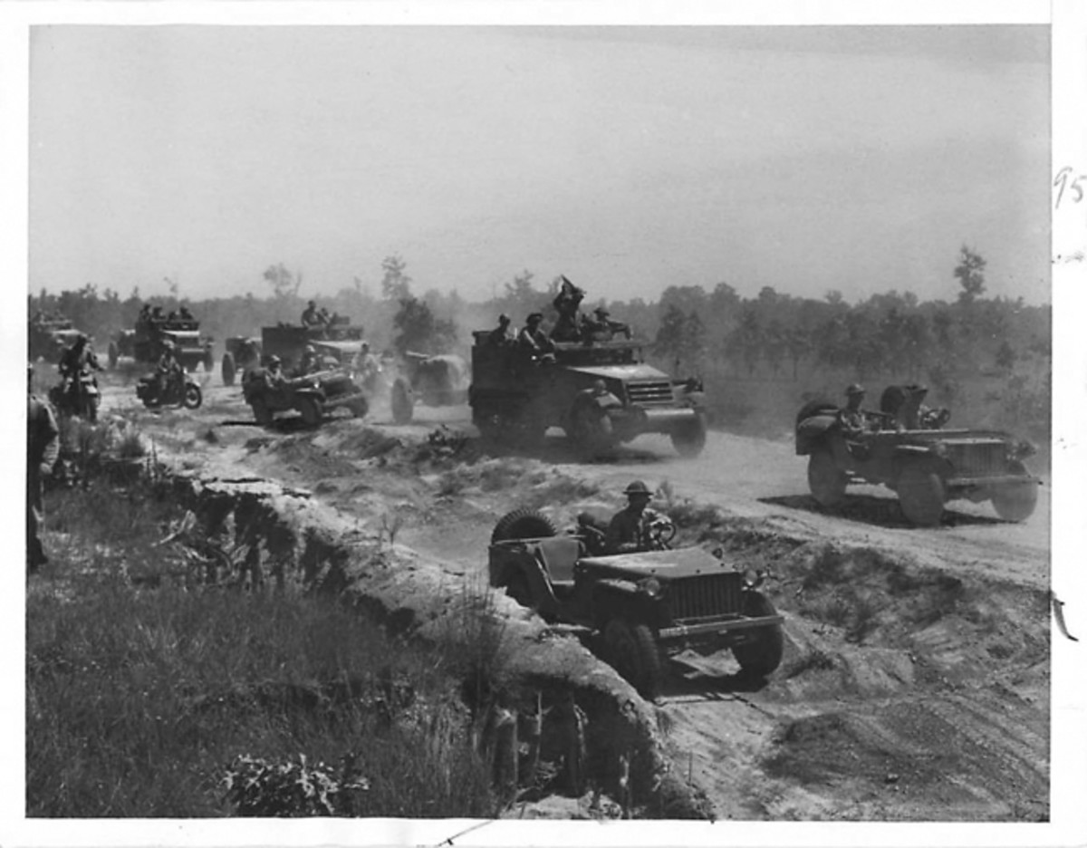 Jeeps and half-tracks of the 68th Armored Regiment of the U.S. 2nd Armored Division photographed while on Louisiana maneuvers in 1941. Courtesy of Cam Finlay
