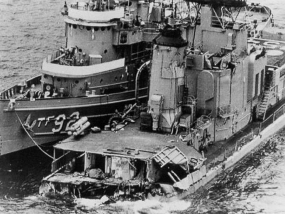 The remaining portion of the USS Frank E. Evans after its collision with an Australian Aircraft carrier in June 1969. Courtesy The USS Frank E. Evans Association