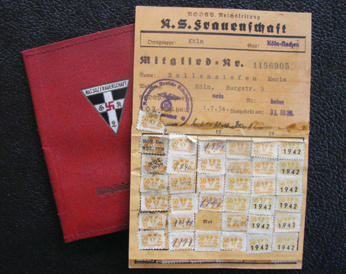 Each member of the NS-Frauenschaft carried an identification book. These contained basic member information and due stamps. Members could purchase a leatherette case in which to carry the booklet.
