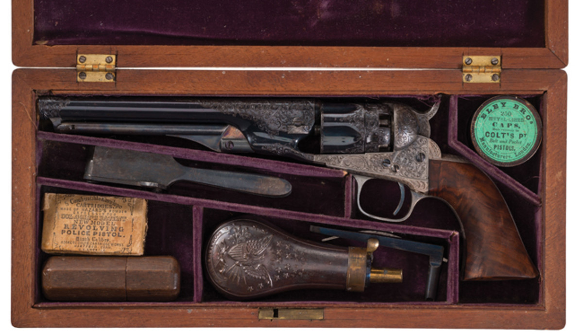 Cased Deluxe Factory Engraved and Inscribed Samuel Colt Presentation Colt Model 1862 Police Percussion Revolver Presented to Major Charles T. Baker
