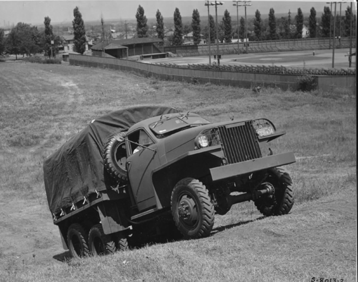 """Like the CCKW, the US6 was built in both long (162"""") and short (148"""") wheelbase versions. Studebaker's company photographer caught this short wheelbase US6 without winch, Studebaker model number US6U1 truck undergoing testing at the company's own South Bend proving ground."""