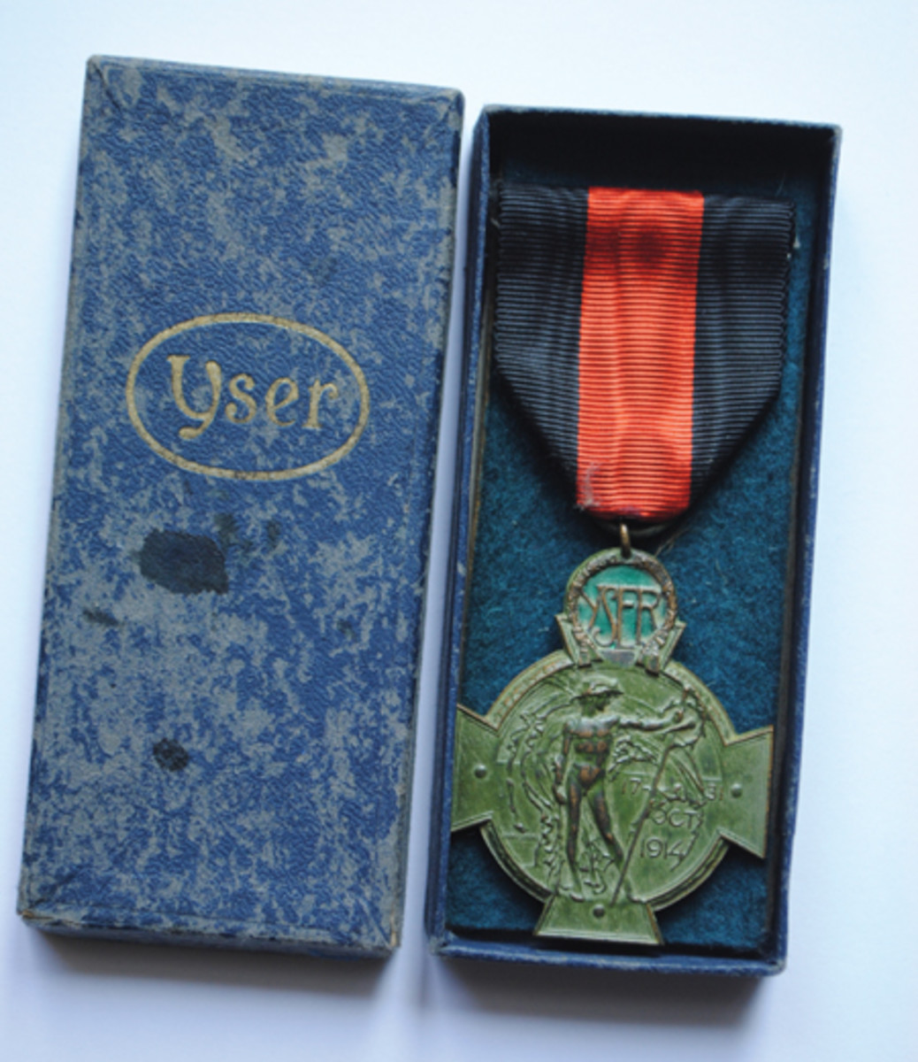 The Yser Cross from 1934 in its original presentation box. The Yser Cross were few in number but better quality than the wartime Yser Medal which preceded it.