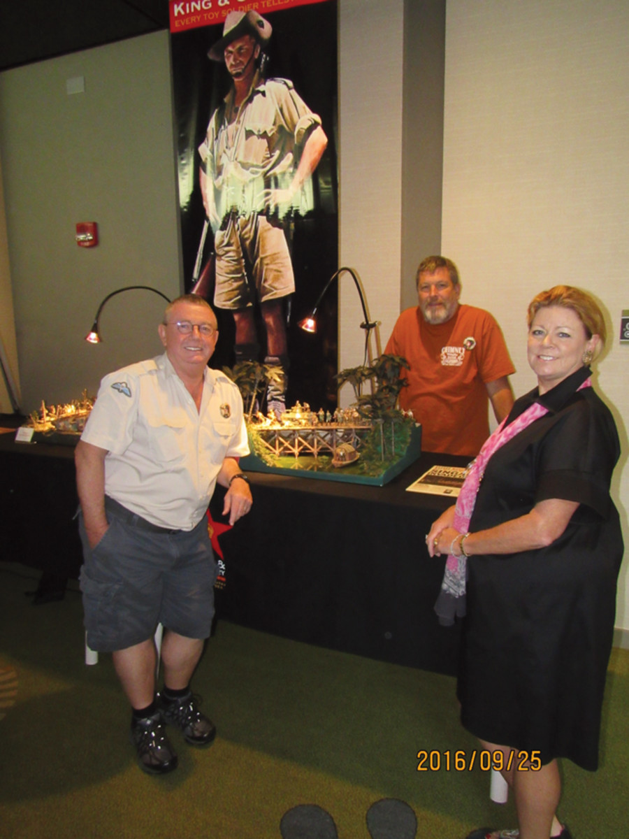 One of the prominent businesses in the toy soldier hobby is King and Country, owned by Andy Neilson (left) and Laura Johnson (right).