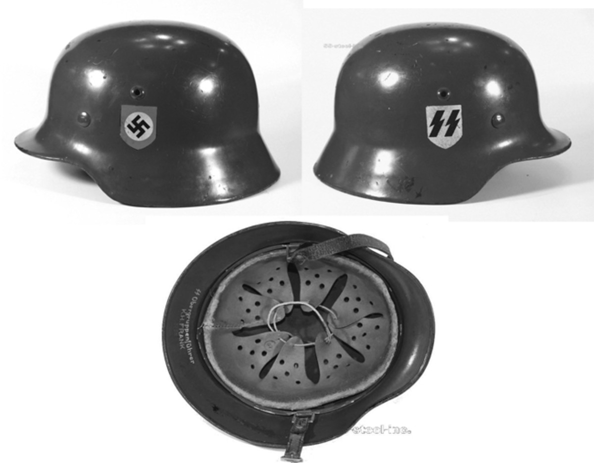 "Kelly's favorite find? ""Well, it would have to be the helmet of SS-Obergruppenführer Karl-Hermann Frank, the successor to Reinhard Heydrich and the infamous 'butcher of Prague'."" Frank's helmet was taken by a US Army PFC who took him prisoner on May 9, 1945. The family of the American GI walked it into a Texas episode of Antiques Roadshow in 2010, and Kelly was fortunate enough to obtain it through his close colleague, Bruce Hermann."