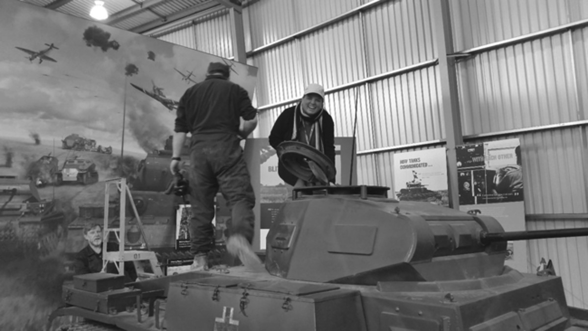 The team also got to get familiar with the Panzer IIIN, a Panther, and this Panzer IIF reference vehicle, also captured in North Africa. Here, Carolyn gets to know the Panzer II both inside and out.