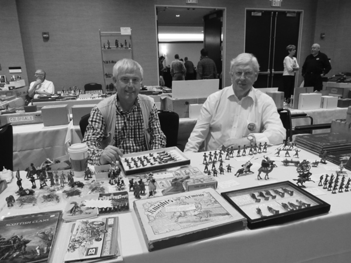 Like the larger U.S. militaria shows, the Chicago Toy Soldier Show attracts a host of foreign dealers and buyers. Peter Cowan and Stephen Dance are English dealers who travel to the show to sell antique toy soldiers.