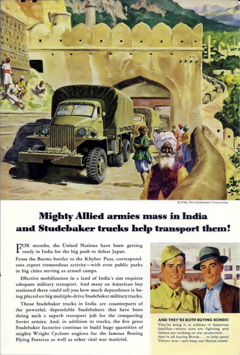 Period advertisement for Studebakers being used in Inda.