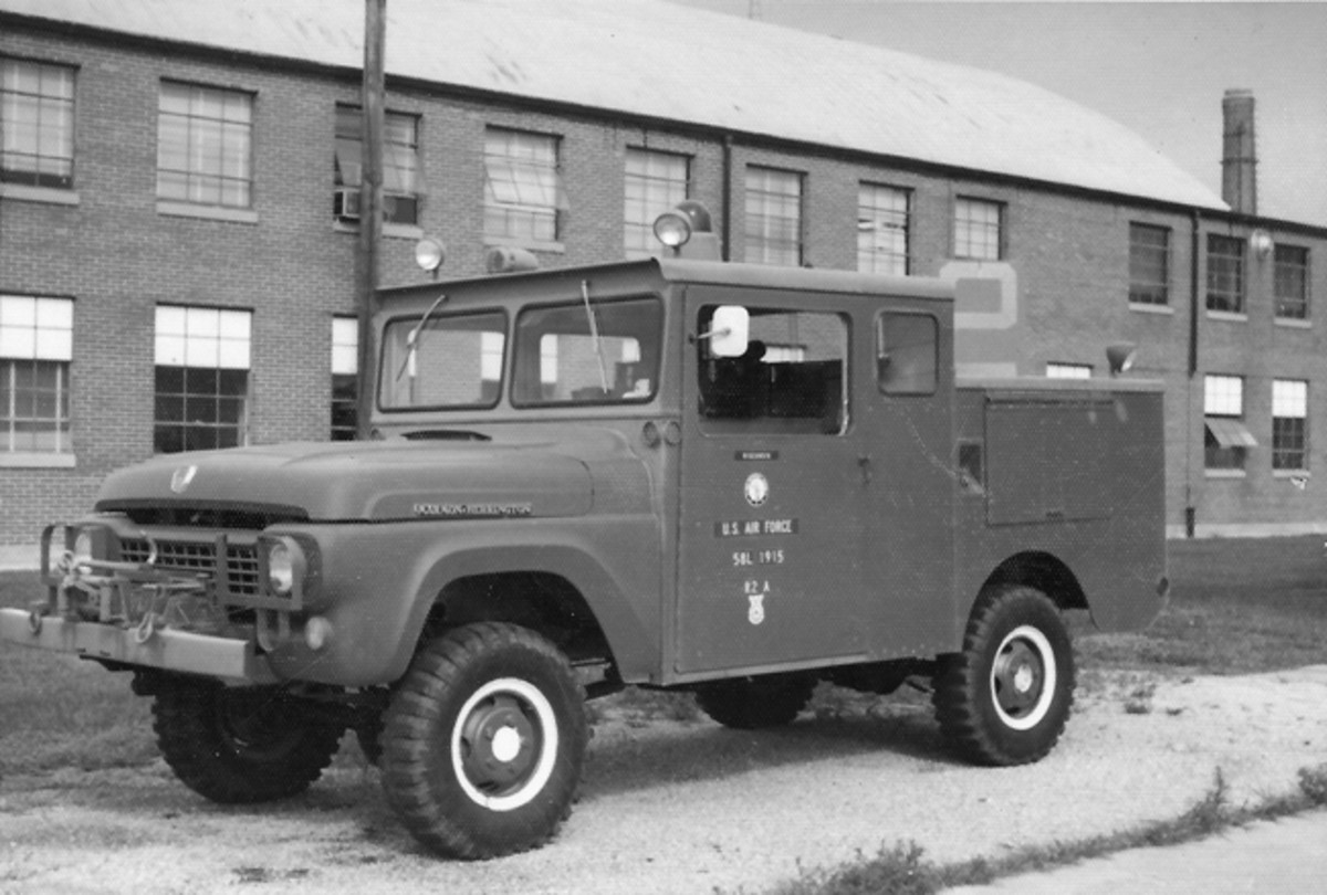 "Wm Gerry Jones sent this photo of an ""R2A CRASH, FORCIBLE ENTRY, EMERGENCY RESCUE TRUCK"" taken in 1974 while in service with the Wisconsin Air National Guard. He noted, ""The R2-A was a Ford 4x4, bodies by Ward LaFrance & Marmon Herrington."""