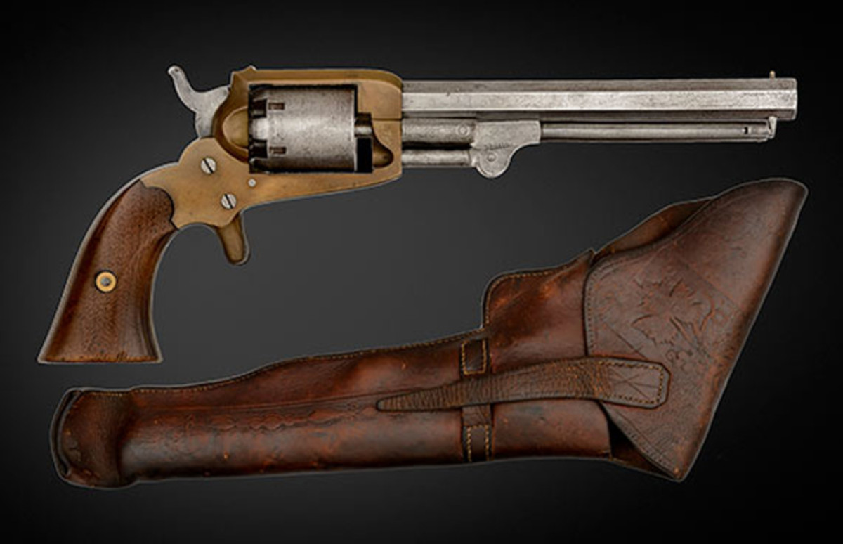 Confederate Cofer Third Type Revolver in its Original Holster Captured by 11th Maine Captain S.H. Merrill