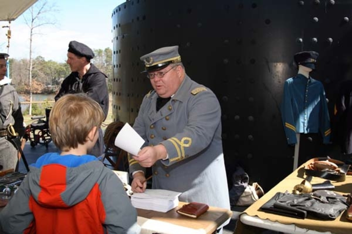 As part of the 2012 Battle of Hampton Roads weekend, attendees chose to sign up for either the Confederate or Union armies. Photo credit: Courtesy The Mariners' Museum, Newport News, Va.