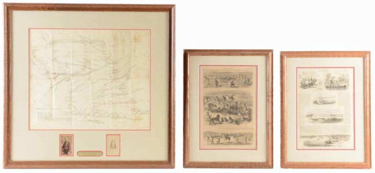 Lt. Col. George A. Custer's personal 1867-1868 Indian Wars field map plus CDVs of Custer in 7th Cavalry dress uniform along with wife, Elizabeth. Custer family provenance. Sold for $19,680 - Image Morphy Auctions