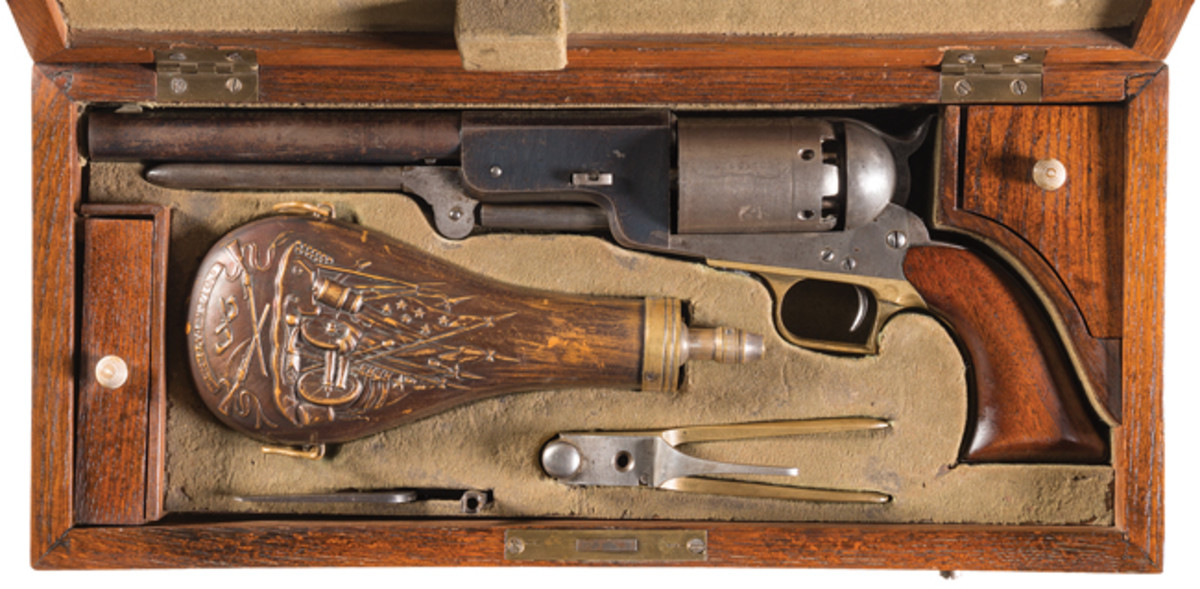 """Extremely Well-Documented, Historic and Iconic Only Known Original Cased Colt Civilian Walker Percussion Revolver, Known as """"The Danish Sea Captain Walker"""" - Photo RIAC"""