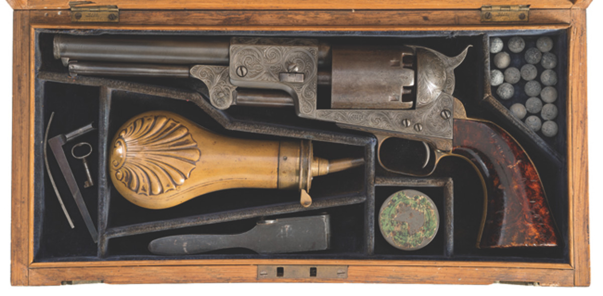 LOT2093-Cased Engraved and British Proofed Colt Third Model Dragoon Percussion Revolver