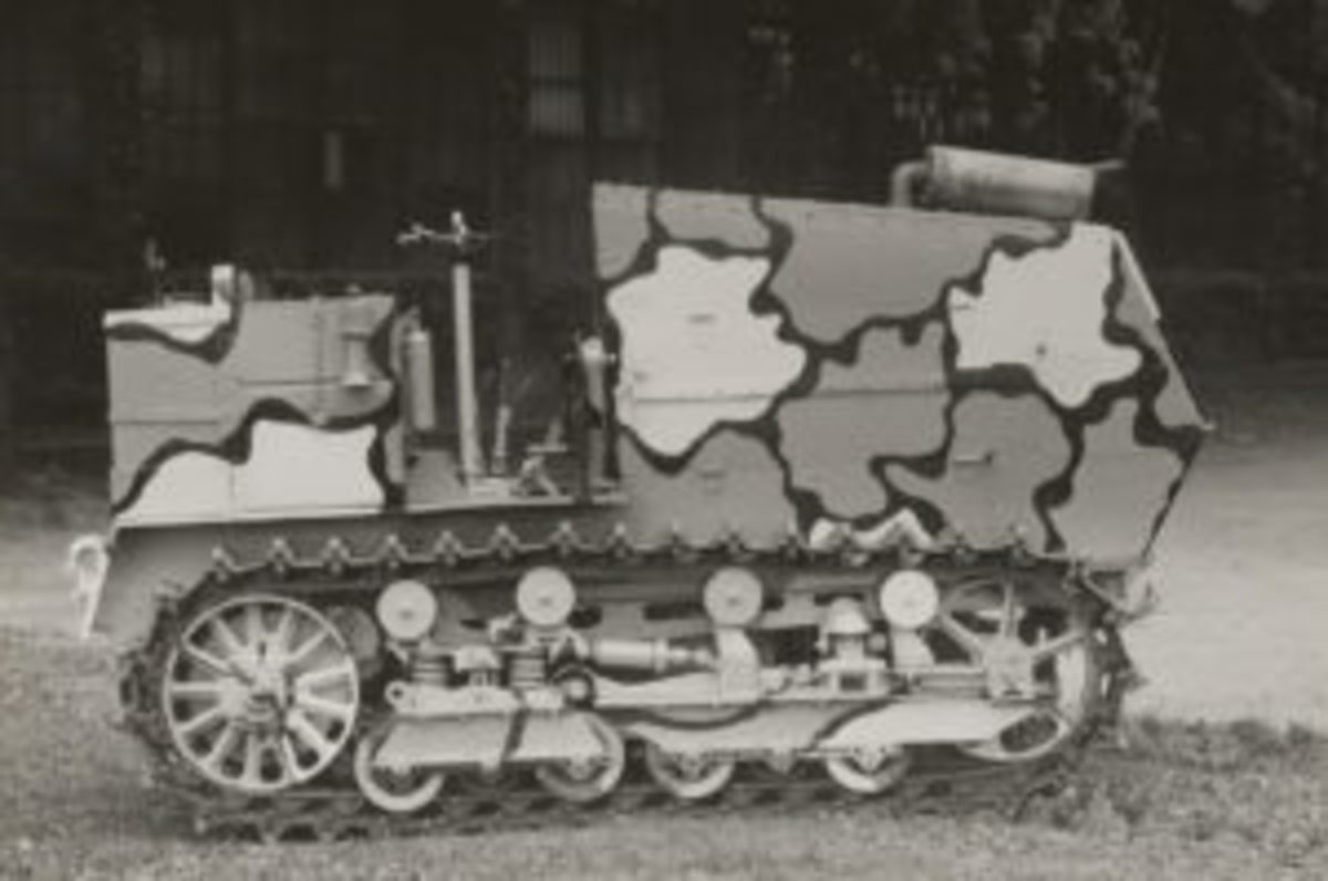 "Camouflage comes from the French word camoufler (""disguise""). The term became popular during WWI."