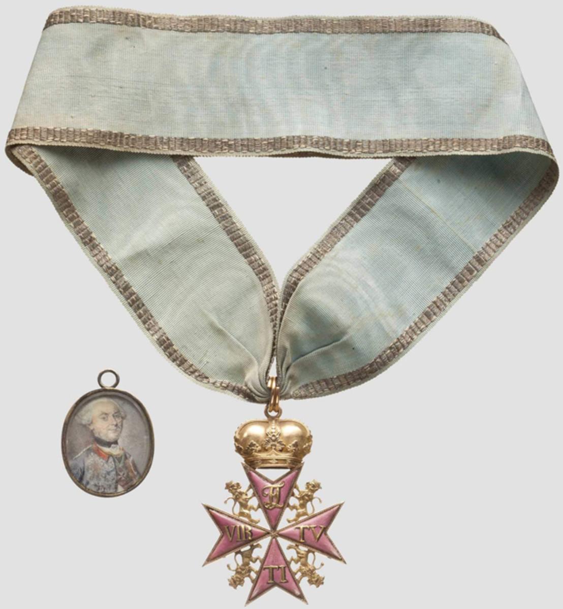 Order pour la Vertu Militaire 1769 and miniature portrait– F.C. von Jungkenn. HP: 40000 Euros
