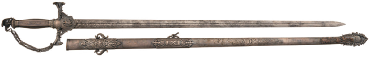 Incredibly Important, Fresh and Well-Documented Ames Inscribed Officer's Presentation Sword and Scabbard Presented to Confederate General Paul J. Semmes, Mortally Wounded at the Battle of Gettysburg - Photo RIAC