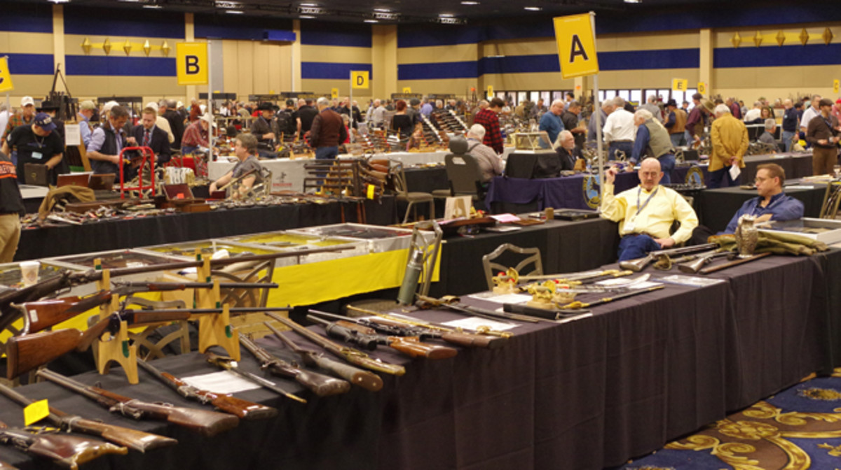 Floor action at a past edition of the Las Vegas Antique Arms Show. Morphy Auctions image