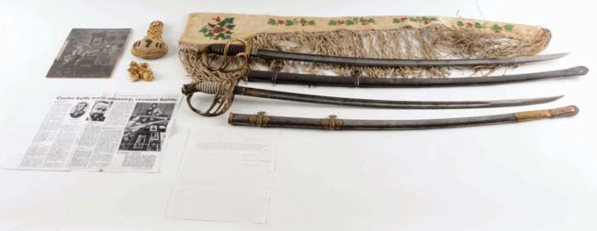 Archive containing five documented 7th Cavalry items belonging to Captain Thomas McDougall, who overslept and narrowly missed joining Custer's battalion at the June 25, 1876 Battle of the Little Bighorn. Sold for $27,675 against a $15,000-$20,000 estimate. - Image Morphy Auctions