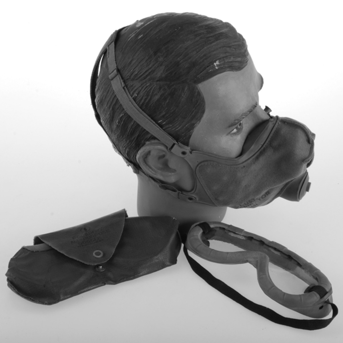 The M1 Dust Respirator was standardized in April 1941. The wearer manipulated the four-point, adjustable harness for a snug fit. www.AdvanceGuardMilitaria.com