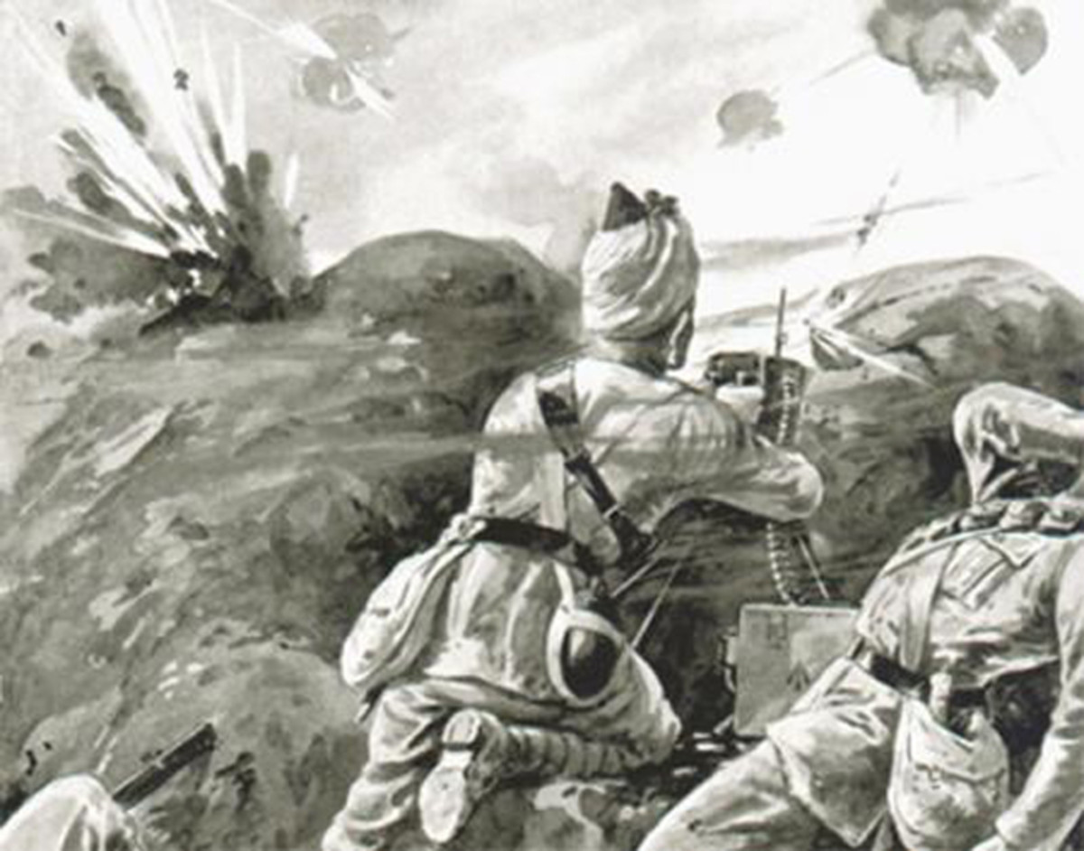 On October 31, two Indian machine gun crews delayed repeated German assaults near Hollebeke, Belgium. In recognition of this display of courage, the King would bestow England's highest award, the Victoria Cross to the sole survivor.