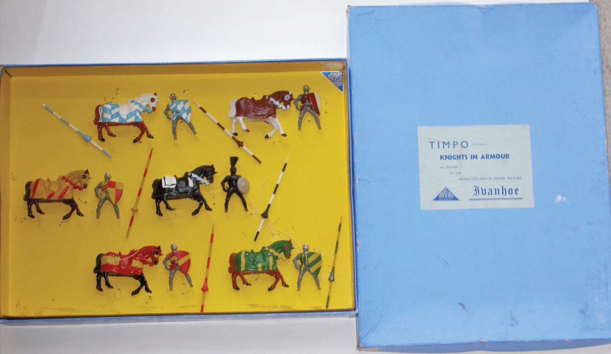 Boxed 6-piece postwar Timpo Ivanhoe Set #KN 4 containing knights with detachable lances, $3,930. Old Toy Soldier Auctions image.