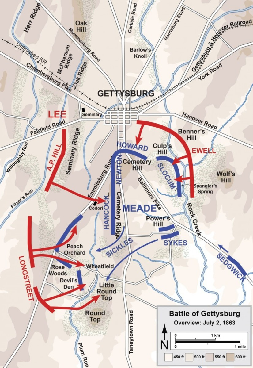Overview map of the second day of the Battle of Gettysburg, July 2, 1863.